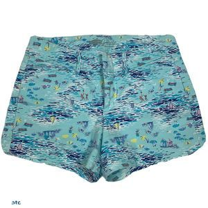 Old Navy Womens Twill Pixie Shorts Blue Scenic 0